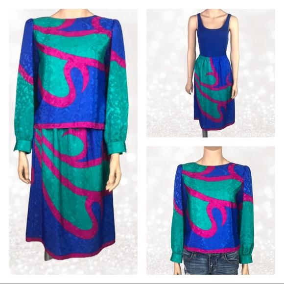 Vintage Dresses & Skirts - VTG Hal Ferman 2 pc set skirt and top